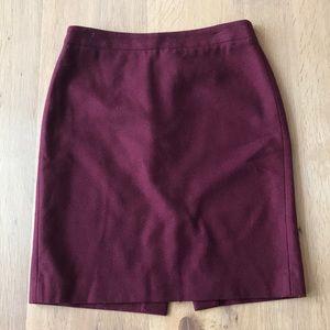 J. Crew pencil skirt size 6 wool burgundy
